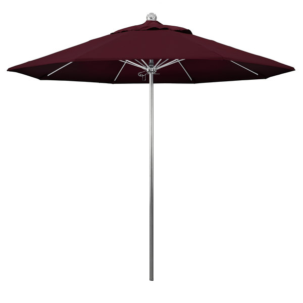 """Burgundy Fabric California Umbrella LUXY 908 PACIFICA Allure 9' Round Push Lift Umbrella with 1 1/2"""" Stainless Steel Pole - Pacifica Canopy"""