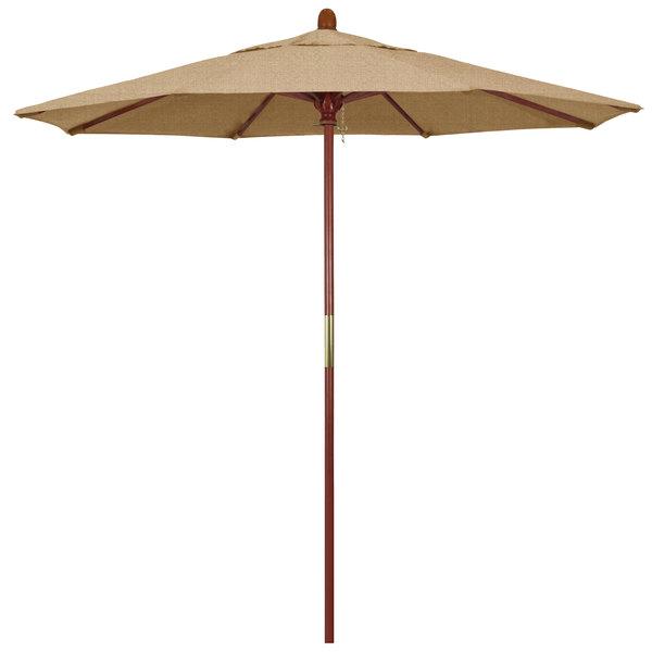 "Linen Sesame Fabric California Umbrella MARE 758 SUNBRELLA 2A Grove 7 1/2' Round Push Lift Umbrella with 1 1/2"" Hardwood Pole - Sunbrella 2A Canopy"
