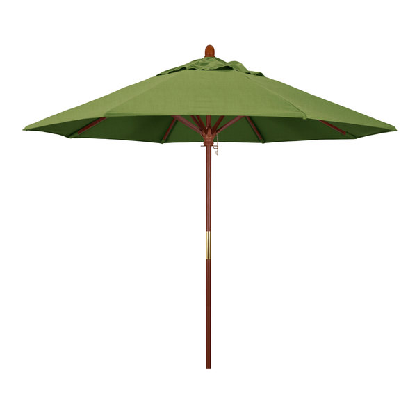 "Spectrum Cilantro Fabric California Umbrella MARE 908 SUNBRELLA 1A Grove Customizable 9' Round Push Lift Umbrella with 1 1/2"" Hardwood Pole - Sunbrella 1A Canopy"
