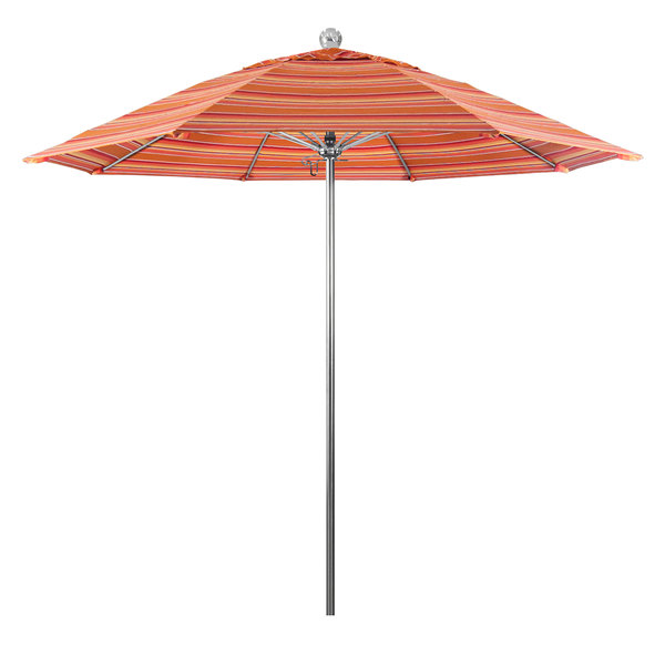 "Dolce Mango Fabric California Umbrella LUXY 908 SUNBRELLA 1A Allure 9' Round Push Lift Umbrella with 1 1/2"" Stainless Steel Pole - Sunbrella 1A Canopy"