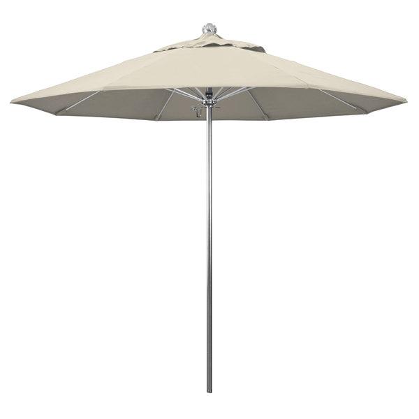 "Beige Fabric California Umbrella LUXY 908 OLEFIN Allure 9' Round Push Lift Umbrella with 1 1/2"" Stainless Steel Pole - Olefin Canopy"