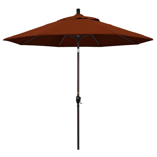 "Brick Fabric California Umbrella GSPT 908 PACIFICA Pacific Trail 9' Crank Lift Umbrella with 1 1/2"" Bronze Aluminum Pole"