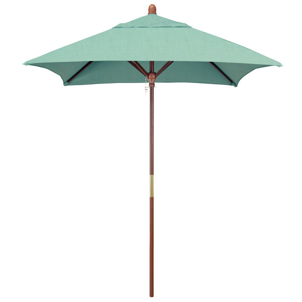 "Spectrum Mist Fabric California Umbrella MARE 604 SUNBRELLA 1A Grove Customizable 6' Square Push Lift Umbrella with 1 1/2"" Hardwood Pole - Sunbrella 1A Canopy"