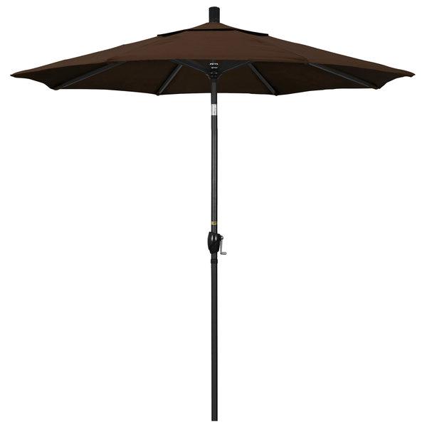 "Mocha Fabric California Umbrella GSPT 758 PACIFICA Pacific Trail 7 1/2' Crank Lift Umbrella with 1 1/2"" Stone Black Aluminum Pole"