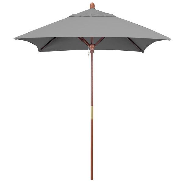 """Granite Fabric California Umbrella MARE 604 SUNBRELLA 1A Grove 6' Square Push Lift Umbrella with 1 1/2"""" Hardwood Pole - Sunbrella 1A Canopy"""