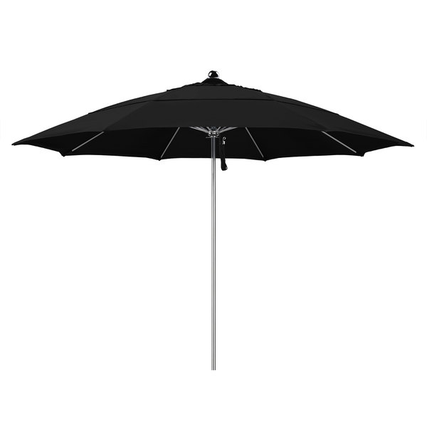 "Black Fabric California Umbrella LUXY 118 OLEFIN Allure 11' Round Pulley Lift Umbrella with 1 1/2"" Stainless Steel Pole - Olefin Canopy"