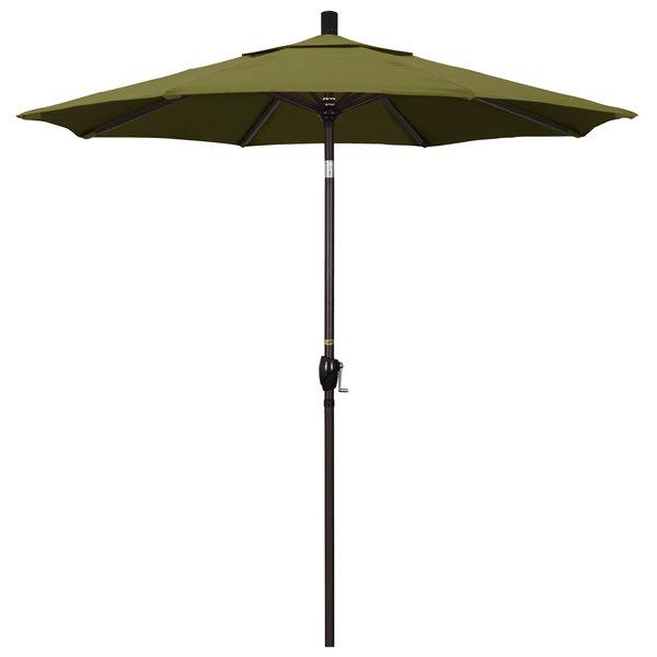 "Palm Fabric California Umbrella GSPT 758 PACIFICA Pacific Trail 7 1/2' Crank Lift Umbrella with 1 1/2"" Bronze Aluminum Pole"