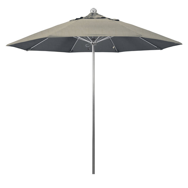 """Spectrum Dove Fabric California Umbrella LUXY 908 SUNBRELLA 1A Allure 9' Round Push Lift Umbrella with 1 1/2"""" Stainless Steel Pole - Sunbrella 1A Canopy"""