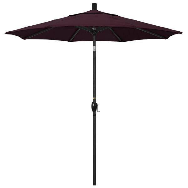 """Purple Fabric California Umbrella GSPT 758 PACIFICA Pacific Trail 7 1/2' Crank Lift Umbrella with 1 1/2"""" Stone Black Aluminum Pole"""