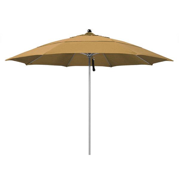 "Straw Fabric California Umbrella LUXY 118 OLEFIN Allure 11' Round Pulley Lift Umbrella with 1 1/2"" Stainless Steel Pole - Olefin Canopy"