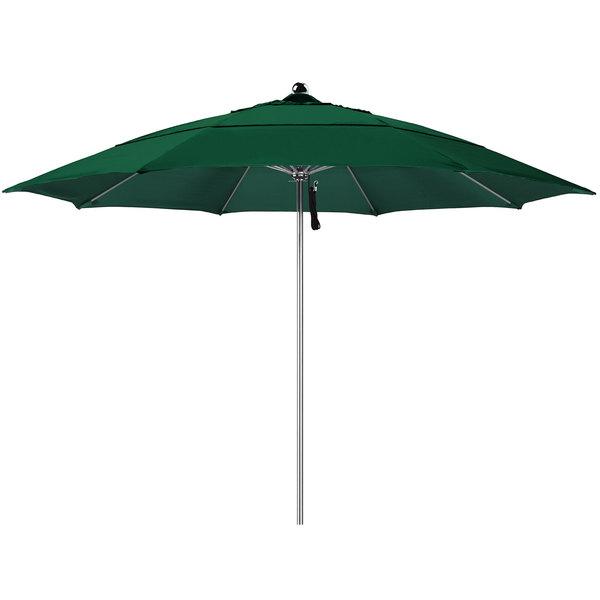 "Hunter Green Fabric California Umbrella LUXY 118 OLEFIN Allure 11' Round Pulley Lift Umbrella with 1 1/2"" Stainless Steel Pole - Olefin Canopy"