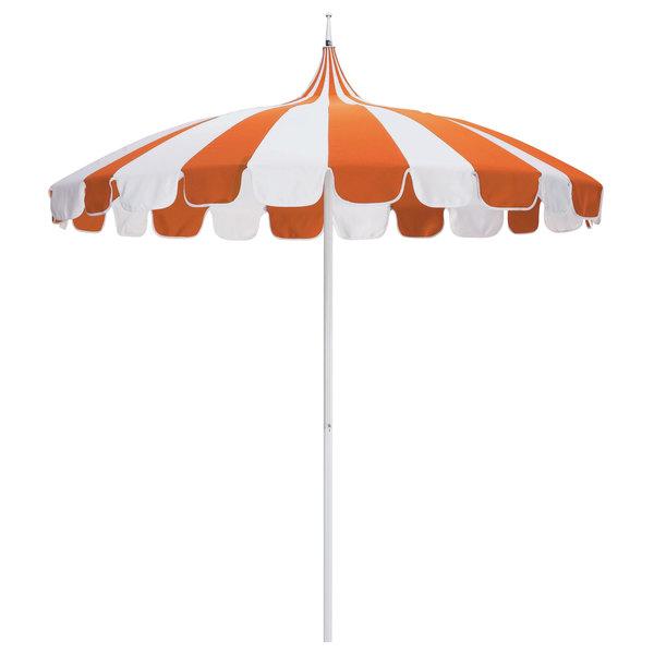 "Natural and Tuscan Fabric California Umbrella SMPT 852 SUNBRELLA 2 Pagoda 8 1/2' Round Push Lift Umbrella with 1 1/2"" Aluminum Pole - Sunbrella 2A Canopy"