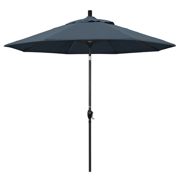 "Sapphire Blue Fabric California Umbrella GSPT 908 PACIFICA Pacific Trail 9' Crank Lift Umbrella with 1 1/2"" Stone Black Aluminum Pole"