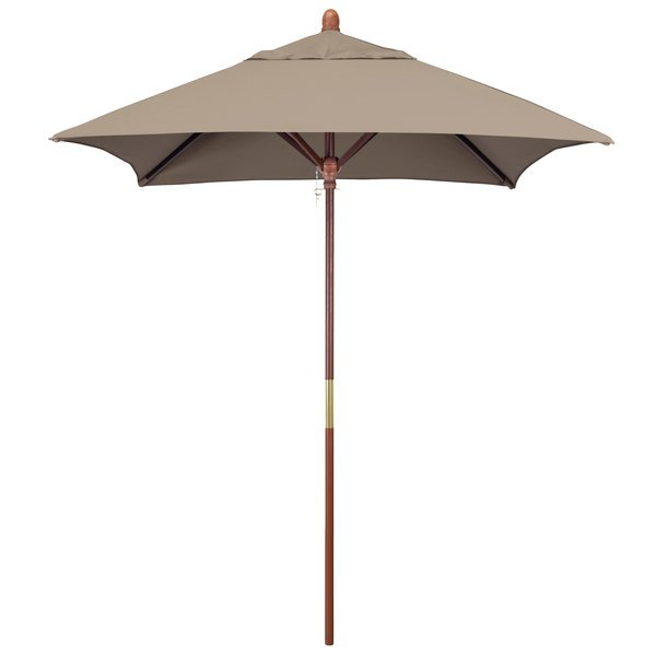 "Taupe Fabric California Umbrella MARE 604 SUNBRELLA 1A Grove 6' Square Push Lift Umbrella with 1 1/2"" Hardwood Pole - Sunbrella 1A Canopy"