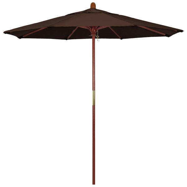 "Mocha Fabric California Umbrella MARE 758 PACIFICA Grove 7 1/2' Round Push Lift Umbrella with 1 1/2"" Hardwood Pole - Pacifica Canopy"