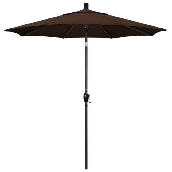"Mocha Fabric California Umbrella GSPT 758 PACIFICA Pacific Trail 7 1/2' Crank Lift Umbrella with 1 1/2"" Bronze Aluminum Pole"