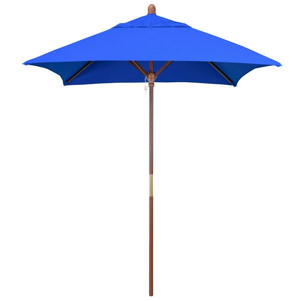 "Pacific Blue Fabric California Umbrella MARE 604 SUNBRELLA 1A Grove Customizable 6' Square Push Lift Umbrella with 1 1/2"" Hardwood Pole - Sunbrella 1A Canopy"