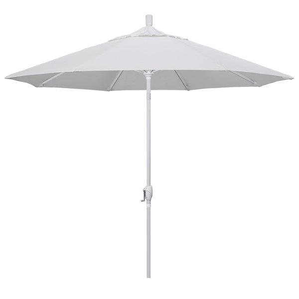 """Natural Fabric California Umbrella GSPT 908 PACIFICA Pacific Trail 9' Crank Lift Umbrella with 1 1/2"""" Matte White Aluminum Pole"""