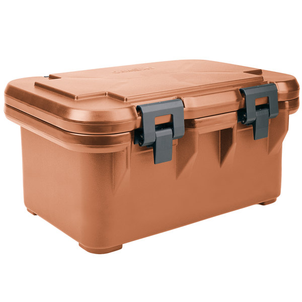 """Cambro UPCS180157 Camcarrier S-Series® Coffee Beige Top Loading 8"""" Deep Insulated Food Pan Carrier Main Image 1"""