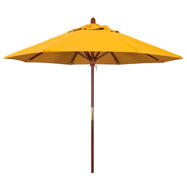 "Yellow Fabric California Umbrella MARE 908 PACIFICA Grove 9' Round Push Lift Umbrella with 1 1/2"" Hardwood Pole - Pacifica Canopy"