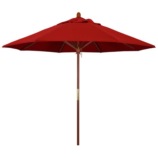 "Jockey Red Fabric California Umbrella MARE 908 SUNBRELLA 2A Grove 9' Round Push Lift Umbrella with 1 1/2"" Hardwood Pole - Sunbrella 2A Canopy"