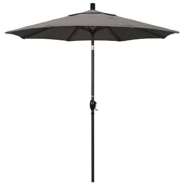 "Taupe Fabric California Umbrella GSPT 758 PACIFICA Pacific Trail 7 1/2' Crank Lift Umbrella with 1 1/2"" Bronze Aluminum Pole"