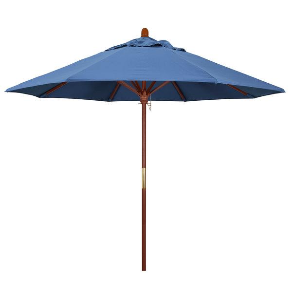 "Frost Blue Fabric California Umbrella MARE 908 OLEFIN Grove 9' Round Push Lift Umbrella with 1 1/2"" Hardwood Pole - Olefin Canopy"