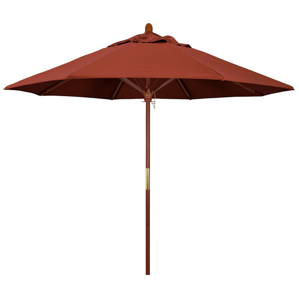 "Terracotta Fabric California Umbrella MARE 908 SUNBRELLA 2A Grove 9' Round Push Lift Umbrella with 1 1/2"" Hardwood Pole - Sunbrella 2A Canopy"
