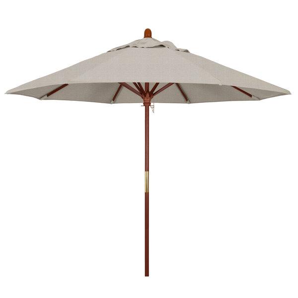 "Woven Granite Fabric California Umbrella MARE 908 OLEFIN Grove 9' Round Push Lift Umbrella with 1 1/2"" Hardwood Pole - Olefin Canopy"