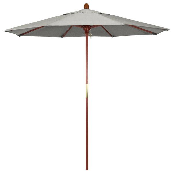"Granite Fabric California Umbrella MARE 758 SUNBRELLA 1A Grove 7 1/2' Round Push Lift Umbrella with 1 1/2"" Hardwood Pole - Sunbrella 1A Canopy"