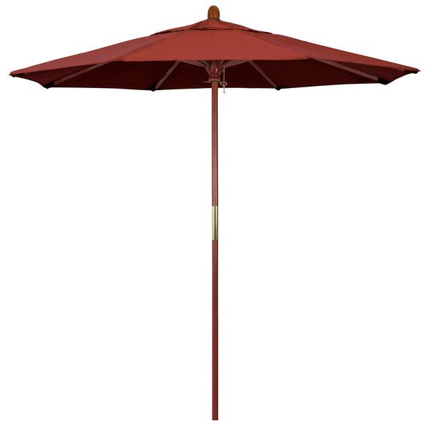 "Terracotta Fabric California Umbrella MARE 758 SUNBRELLA 2A Grove 7 1/2' Round Push Lift Umbrella with 1 1/2"" Hardwood Pole - Sunbrella 2A Canopy"