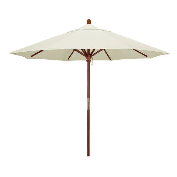 "Canvas Fabric California Umbrella MARE 908 SUNBRELLA 1A Grove Customizable 9' Round Push Lift Umbrella with 1 1/2"" Hardwood Pole - Sunbrella 1A Canopy"