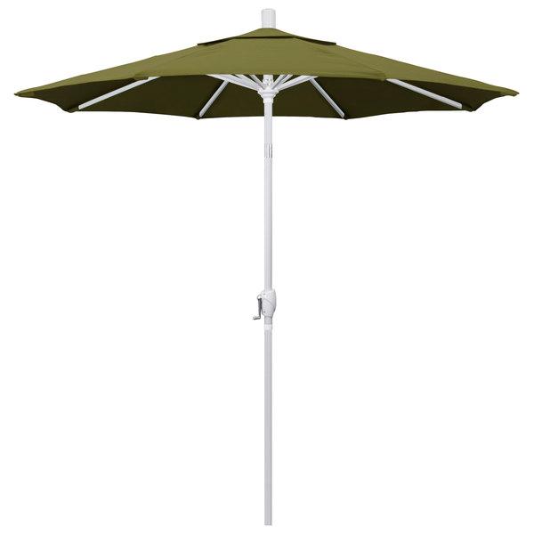 """Palm Fabric California Umbrella GSPT 758 PACIFICA Pacific Trail 7 1/2' Crank Lift Umbrella with 1 1/2"""" Matte White Aluminum Pole"""