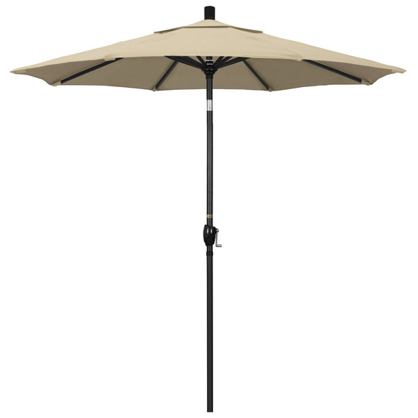 "Beige Fabric California Umbrella GSPT 758 PACIFICA Pacific Trail 7 1/2' Crank Lift Umbrella with 1 1/2"" Stone Black Aluminum Pole"