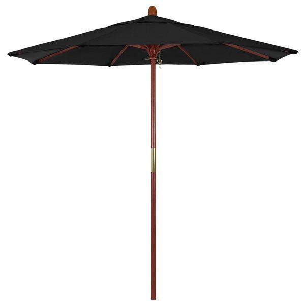"Black Fabric California Umbrella MARE 758 SUNBRELLA 1A Grove 7 1/2' Round Push Lift Umbrella with 1 1/2"" Hardwood Pole - Sunbrella 1A Canopy"