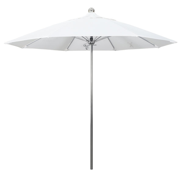 """Natural Fabric California Umbrella LUXY 908 PACIFICA Allure 9' Round Push Lift Umbrella with 1 1/2"""" Stainless Steel Pole - Pacifica Canopy"""