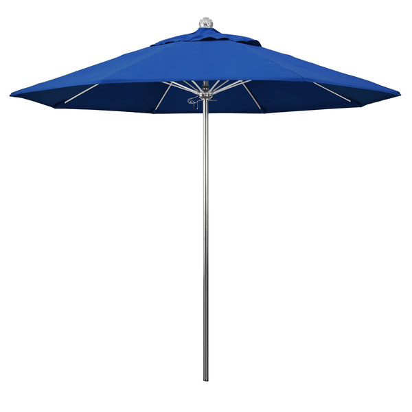 """Pacific Blue Fabric California Umbrella LUXY 908 PACIFICA Allure 9' Round Push Lift Umbrella with 1 1/2"""" Stainless Steel Pole - Pacifica Canopy"""