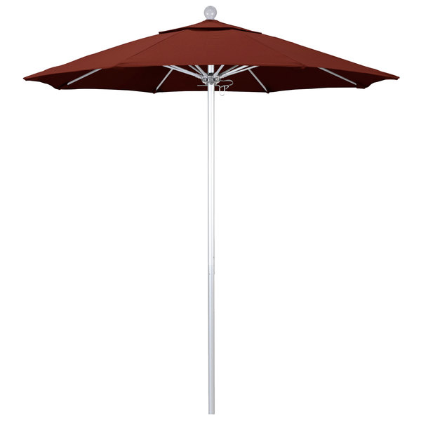 "Henna Fabric California Umbrella ALTO 758 SUNBRELLA 2A Venture 7 1/2' Round Push Lift Umbrella with 1 1/2"" Silver Anodized Aluminum Pole - Sunbrella 2A Canopy"