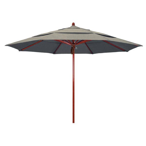 "Spectrum Dove Fabric California Umbrella FLEX 118 SUNBRELLA 1A Sierra 11' Round Pulley Lift Umbrella with 2"" Red Oak Fiberglass Pole - Sunbrella 1A Canopy"