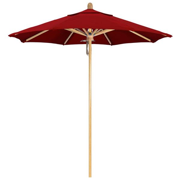 "Jockey Red Fabric California Umbrella FLEX 758 SUNBRELLA 2A Sierra 7 1/2' Round Pulley Lift Umbrella with 1 1/2"" White Oak Fiberglass Pole - Sunbrella 2A Canopy"