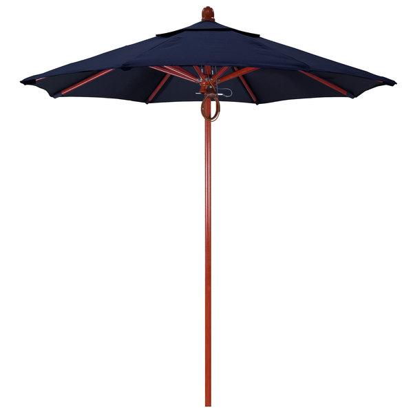 "Navy Fabric California Umbrella FLEX 758 PACIFICA Sierra 7 1/2' Round Pulley Lift Umbrella with 1 1/2"" Red Oak Fiberglass Pole - Pacifica Canopy"
