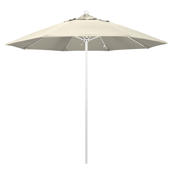 "Beige Fabric California Umbrella ALTO 908 OLEFIN Venture 9' Round Push Lift Umbrella with 1 1/2"" Matte White Aluminum Pole - Olefin Canopy"