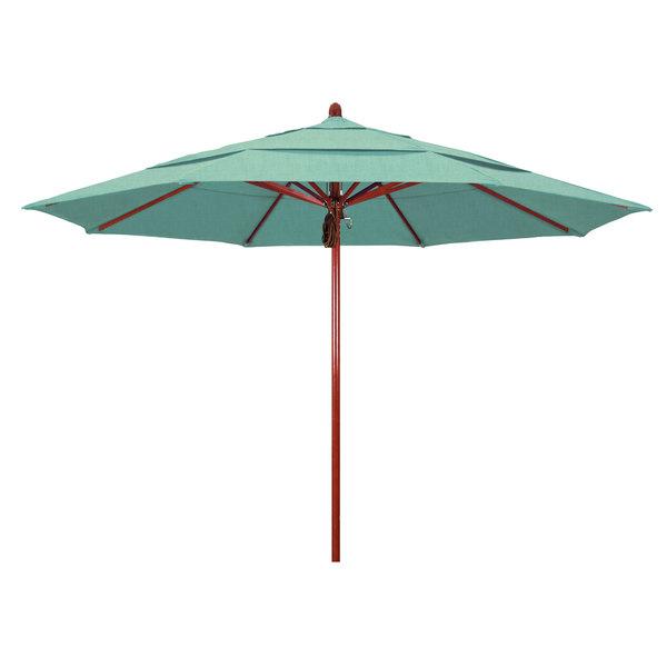 "Spectrum Mist Fabric California Umbrella FLEX 118 SUNBRELLA 1A Sierra 11' Round Pulley Lift Umbrella with 2"" Red Oak Fiberglass Pole - Sunbrella 1A Canopy"