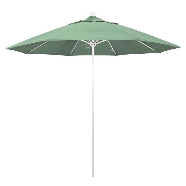 """Spa Fabric California Umbrella ALTO 908 PACIFICA Venture 9' Round Push Lift Umbrella with 1 1/2"""" Matte White Aluminum Pole - Pacifica Canopy"""