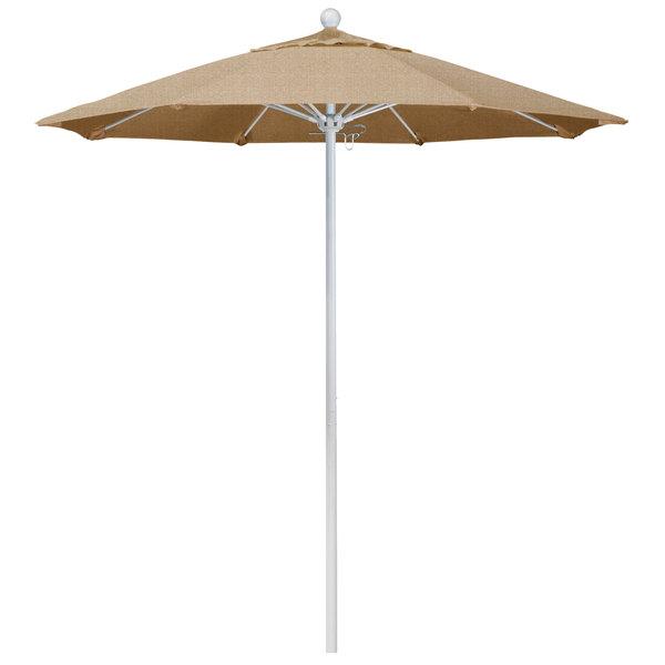 """Linen Sesame Fabric California Umbrella ALTO 758 SUNBRELLA 2A Venture 7 1/2' Round Push Lift Umbrella with 1 1/2"""" Matte White Aluminum Pole - Sunbrella 2A Canopy"""