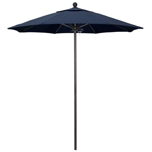 "Spectrum Indigo Fabric California Umbrella ALTO 758 SUNBRELLA 1A Venture Customizable 7 1/2' Round Push Lift Umbrella with 1 1/2"" Bronze Aluminum Pole - Sunbrella 1A Canopy"