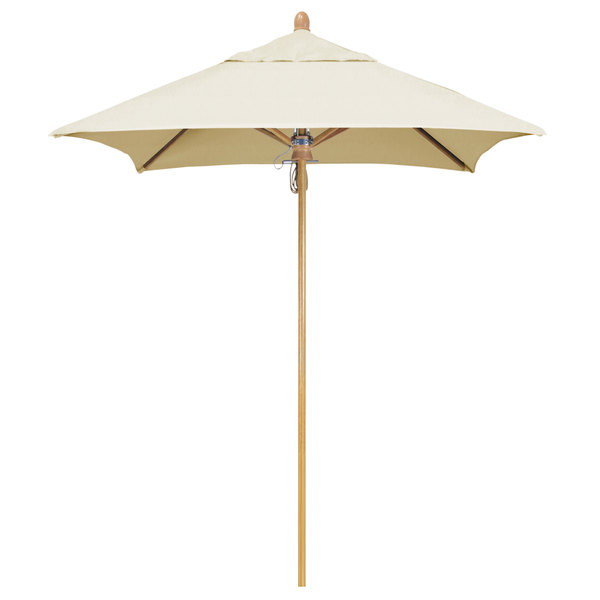 "Canvas Fabric California Umbrella FLEX 604 SUNBRELLA 1A Sierra Customizable 6' Square Pulley Lift Umbrella with 1 1/2"" White Oak Fiberglass Pole - Sunbrella 1A Canopy"