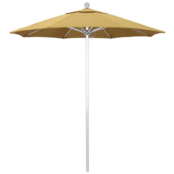 """Wheat Fabric California Umbrella ALTO 758 SUNBRELLA 1A Venture Customizable 7 1/2' Round Push Lift Umbrella with 1 1/2"""" Silver Anodized Aluminum Pole - Sunbrella 1A Canopy"""