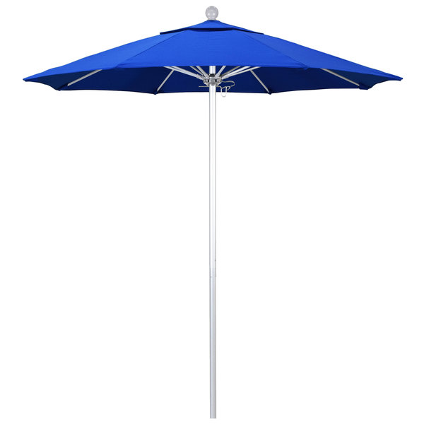 """Pacific Blue Fabric California Umbrella ALTO 758 SUNBRELLA 1A Venture Customizable 7 1/2' Round Push Lift Umbrella with 1 1/2"""" Silver Anodized Aluminum Pole - Sunbrella 1A Canopy"""