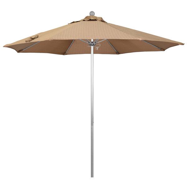"Terrace Sequoia Fabric California Umbrella ALTO 908 OLEFIN Venture 9' Round Push Lift Umbrella with 1 1/2"" Silver Anodized Aluminum Pole - Olefin Canopy"